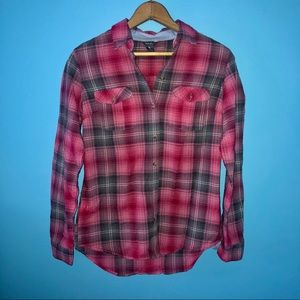 Eddie Bauer | Pink Plaid Flannel Button Up XS